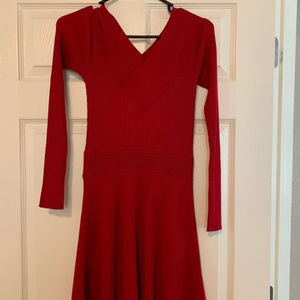 Red Sweater Long Sleeve Dress